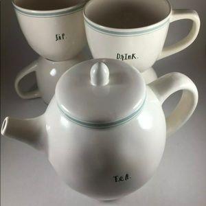 RAE DUNN ~ FARMHOUSE Teapot & 4 Matching Teacups